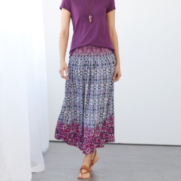 J. Jill Dresses & Skirts - J.Jill Smocked Waist A-line Printed Maxi Skirt